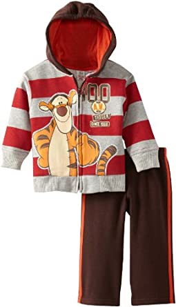 Disney Baby-boys Infant 2 Piece 100 Tigger Jacket and Pant, Gray, 12 Months