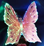 Butterfly Optic Fiber Color Changing Night Light Show - Pink