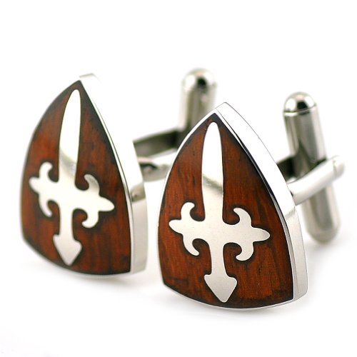 PenSee Rare Stainless Steel & Red Wood Cross Peltate Cufflinks for Men with Gift Box