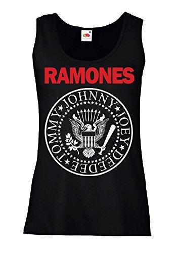 """Canotta Donna """"Ramones - Bicolore"""" - 100% cotone LaMAGLIERIA, S, Nero"""