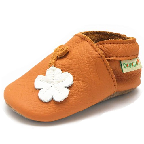 Sayoyo Baby Plum Flower Soft Sole Orange Leather Infant And Toddler Shoes 12-18Months front-158628
