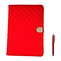 Apexel Gird Pattern Elegant Luxury Protective Case Pouch with Diamond Buckle for iPad Air 2 2014 Red with Touch Pen