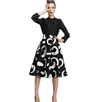 Womens Retro Modern High Waist Printing Simple Full Pleated Skirt