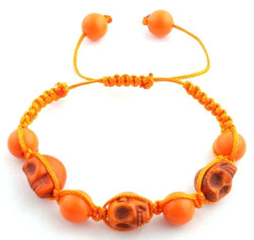 Orange Skulls and Beaded Balls Adjustable Bracelet Macrame Shamballah