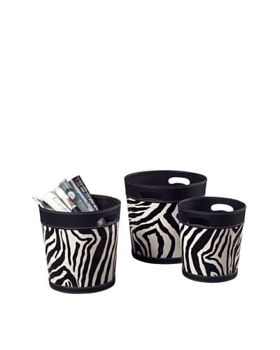 Artistic Set of 3 Zebra Patterned Magazine Holders, Black/White