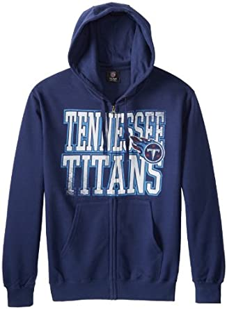 NFL Tennessee Titans Touchback V Full Zip Hooded Sweatshirt, Athletic Navy, Small by VF LSG