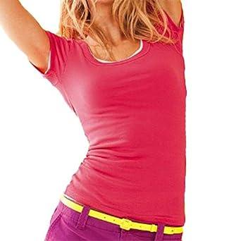 Short Sleeve Crewneck Tee T Shirt Cotton Top (Small, Cinnamon)