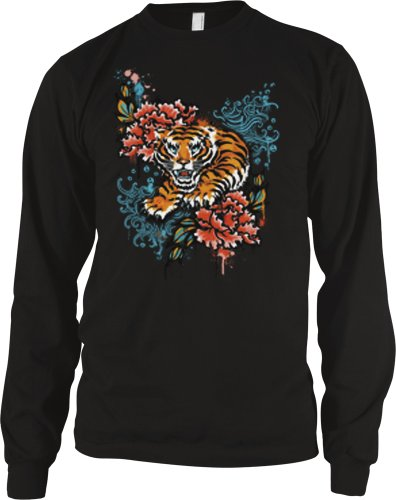 Tiger And Flowers Mens Tattoo Thermal Shirt, Old School Tiger Tattoo Style Design Long Sleeve Thermal, Large, Black