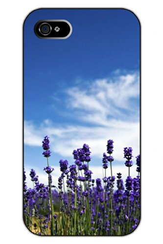 Sprawl Unique Clear Design Lavender Under Clear Blue Sky Protective Hard Plastic Snap On Iphone 5 5S Case Flower Of Life front-284082