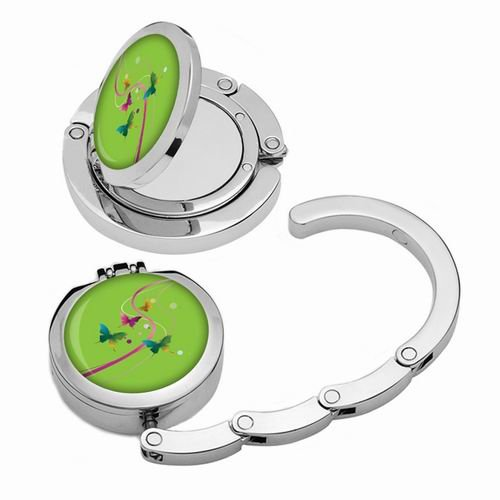 Designer Collection Magnetic Foldable Purse Hook/hanger with Hidden Mirror Green butterfly