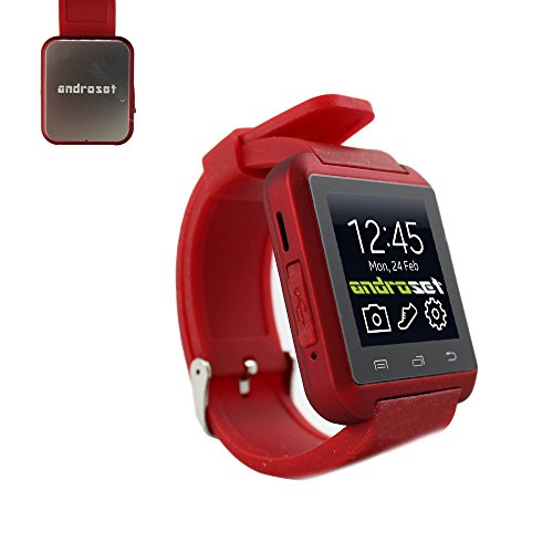 ANDROSET Smartwatch Sync Call SMS Bluetooth Watch Pedometer/Recording/Anti-Lost/Phone book/ Remote Camera for iOS and Android-Red
