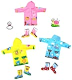 【EMSO】子供用 キッズ レインコート &レインブーツ 雨具セット 選べる3色