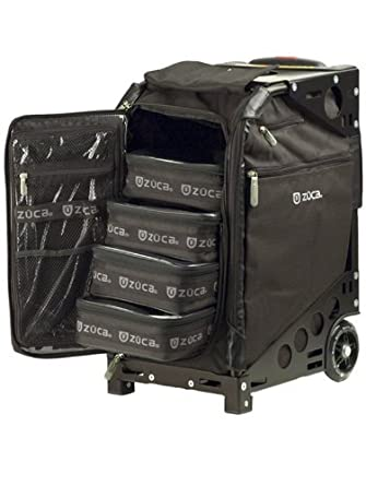ZUCA Pro Artist Case - Black Insert Bag in Black Frame, with Travel Cover and 4 Vinyl Utility Pouches
