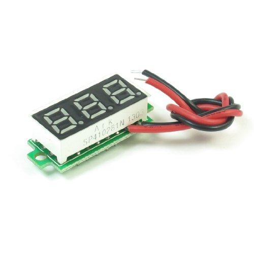2-Wire 3.5V -30V Green 3 Digit Mini Digital Voltage Display Module