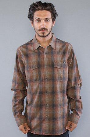 RVCA The Fader Buttondown Shirt in Medium Brown,Buttondown Shirts for Men