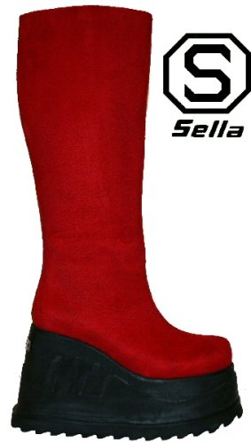 Sella Tramp - Red Imitation Suede - Size 4