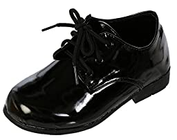 DressForLess Classic Oxford Boys Dress Shoes , Black, 7