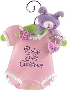 Carlton Heirloom Ornament 2013 Baby Girl's First Christmas - Pink Onesie - #CXOR003D