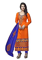 7 Colors Lifestyle Orange Coloured Embroidered Cotton Jacquard Unstitched Dress Material