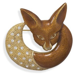 14 Karat Gold Plated Fox Fashion Pin