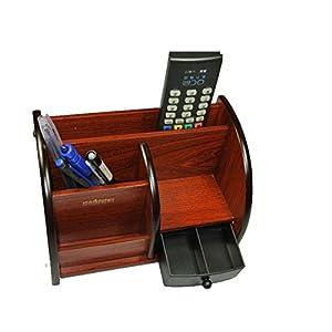 コンパクト サイズ 多機能 机上 卓上 木製 棚 収納 ラック 整理 引き出し 付 2段