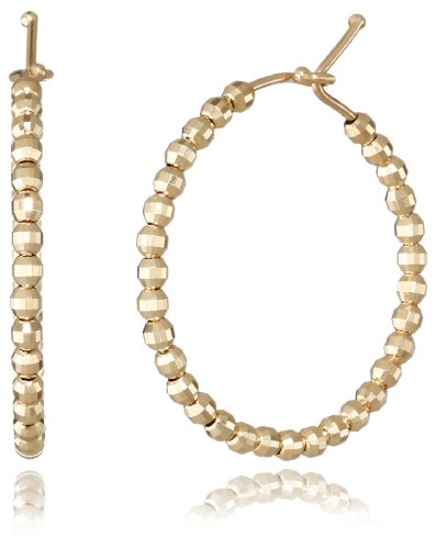 Mizuki 14Kt Cut Bead Small Round Hoop Earrings