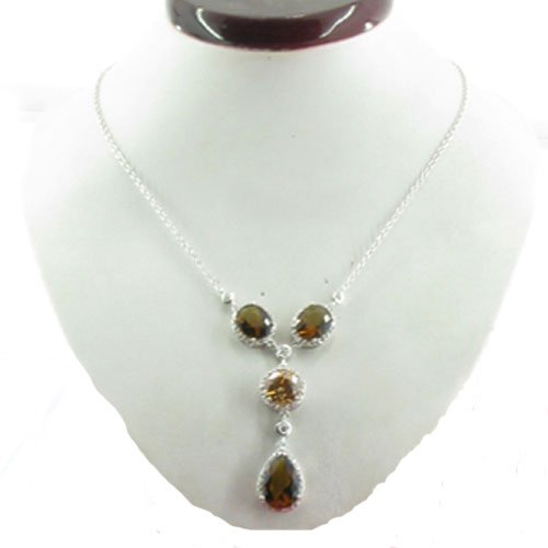 C.Z. (.925) STERLING SILVER CHAMP AND SMOKY TOPAZ RHODIUM PLATED NECKLACE (Nice Holiday Gift, Special Black Firday Sale)