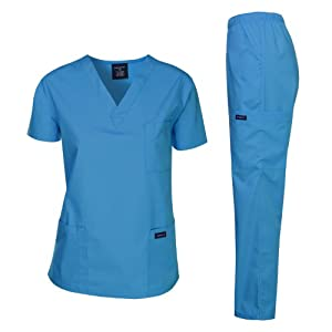 Dagacci Medical Uniform Women's Medical Scrub Set Top and Pant