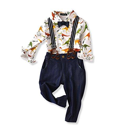 Baby Boys Dinosaur Shirt Bowtie Clothes Suspender Clothing Set Denim Jeans (80(6-12month))