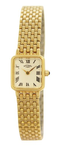 Ladies Square Gold Plated Rotary Quartz/Battery Watch with White Dail  &  Roman Numerals on Bracelet. LB00555