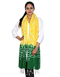 Super Quality Cotton Tie Dye Tie Dye Yellow Stole Casual Wear By Rajrang