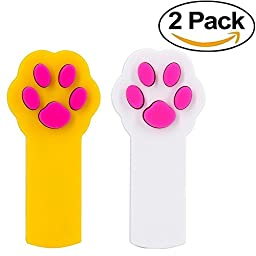 HULISEN 2Pcs Funny Paw Style Cat Catch the Interactive LED Light Pointer Exercise Chaser Toy Pet Scratching Training Tool
