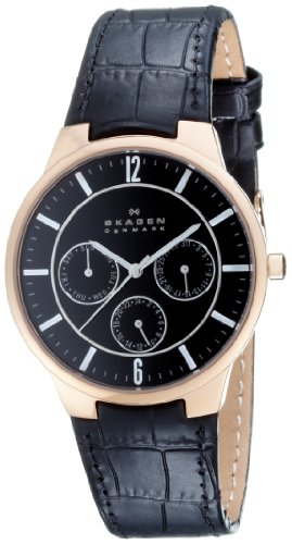 Skagen Gents Multidial Watch 331XLRLB with a black dial within a rose gold case with a black leather strap