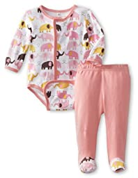 Magnificent Baby Baby-Girls Newborn Elephant Long Sleeve Burrito Bodysuit And Pant Set, Elephant, Newborn
