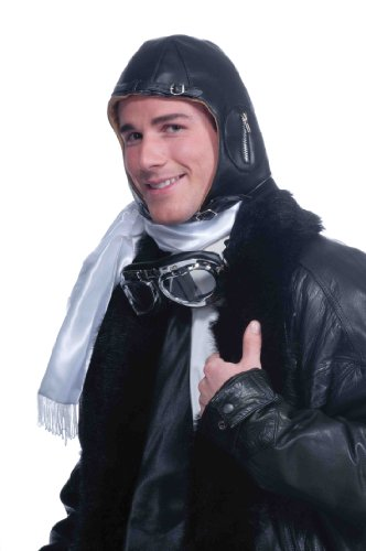 Forum Novelties Deluxe Aviator Airplane Flight Black Costume Helmet