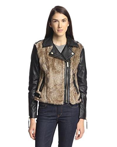 BCBGeneration Women's Faux Fur Moto Jacket