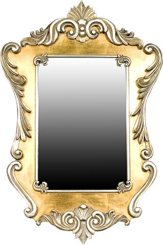 Beautifully Ornate ANTIQUE GOLD  &  SILVER Shabby Chic Style Wall Mirror Height: 43