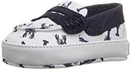 Cole Haan Pinch Weekender LAYT Canvas Penny Loafer (Infant/Toddler), White/Navy Lobster, 1 M US Infant