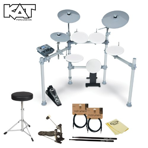 Kat Percussion Jf-Kt2-Kit-02 Kt2 Digital Drum Set With Headphones, Cables, Drum Throne, Foot Pedal, 5A Drumsticks And Godpsmusic Polish Cloth