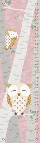"Oopsy Daisy Birchwood Owl Growth Chart, Pink, 12"" x 42"" - 1"
