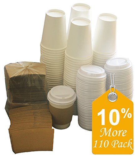 Paper Coffee Hot Cups Paper Cups With Lids and Sleeves WHITE 110 Value Pack 10% MORE - 12 OZ