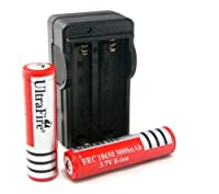 IntsunUltraFire 18650 3000mAh 3.7V Rechargeable Li-Ion Battery (Pair) + Charger Combo,Travel charger folds up for easy transport from Intsun