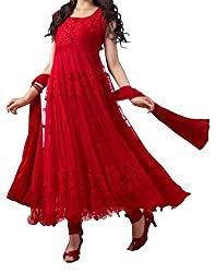 Janasya Women's Brasso Unstiched Dress Material (DR-012-Red.A_Red)