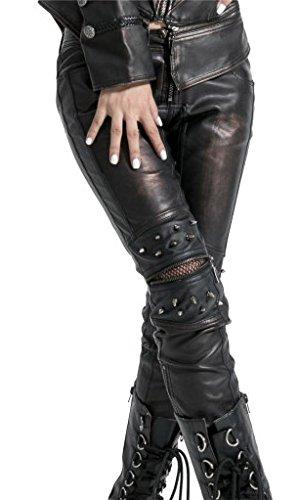 Pantaloni, colore: nero e marrone con picchi aperto su ginocchia, taglia: donna, K-145 Punk Rave nero Small