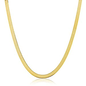 JOTW 925 Sterling Gold Plated 5mm 24 Inch Herringbone Chain Necklace
