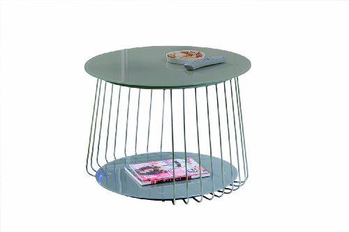 Design-Beistelltisch-70-cm-aus-Glas-satiniert-cappuccino-mit-Ablage