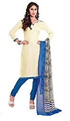 Women Latest Fancy Designer Salwar Suit Dress Material Khadi Cream Dyed + Lace Unstitched