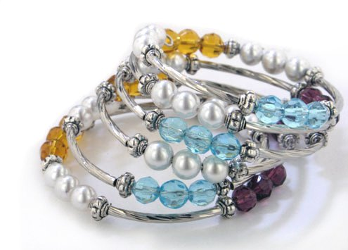 Magnetic Therapy Wrap Style Hematite Pearl and Lucite Beaded Coil Bracelet