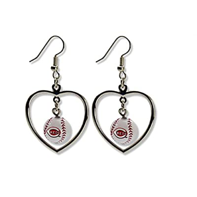 MLB Mini Baseball Heart Dangler Earrings