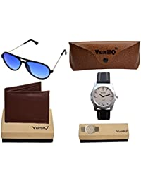 Combo Pack Of YuniiQ Brown Color Wallet With Blue Unisex Aviators With YuniiQ Black Formal Watch.